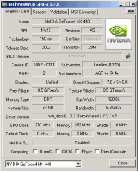 Leadtek A170 DDR GPUZ